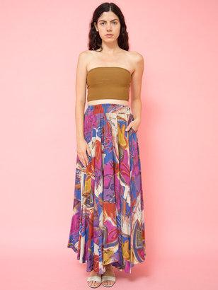 American Apparel Vintage Abstract Floral Long Circle Skirt