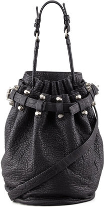 Alexander Wang Diego Bucket Bag, Black/Nickel Hardware