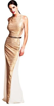 Nicole Bakti - 6558 Evening Dress In Ivory And Gold $385 thestylecure.com