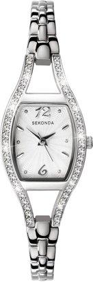 Sekonda 4191.27 Women's Diamante Bezel Stainless Steel Bracelet Strap Watch, Silver