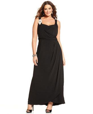 Spense Plus Size Sleeveless Draped Gown