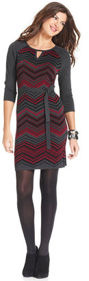 Spense Petite Dress, Three-Quarter-Sleeve Zig-Zag Print Sweater