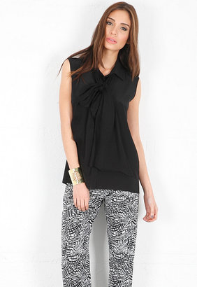 Alexis Tahan Sleeveless Top with Ties in Black