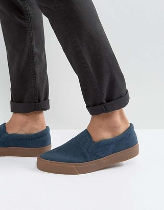 ASOS Slip On Sneakers In Navy Towel With Gum Sole