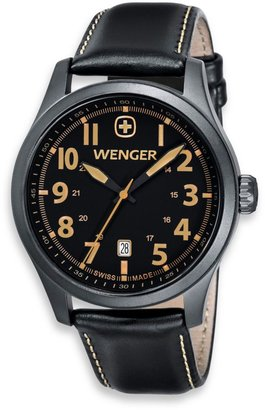 Wenger Men's Terragraph Black/Tan Dial Stainless Steel PVD Case and Black Leather Band Watch