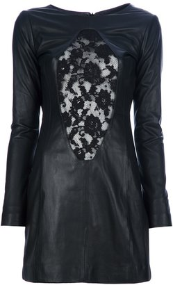 Philipp Plein lace panel leather dress