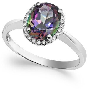 Macy's 14k White Gold Mystic Topaz (2 ct. t.w.) and Diamond Accent Ring
