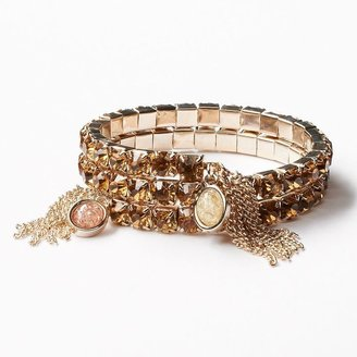 Vera Wang Simply vera gold tone simulated crystal coil bracelet