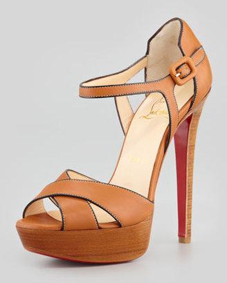 Christian Louboutin Sporting Buckle Ankle-Wrap Platform Sandal, Fauve