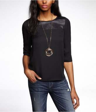 Express (Minus The) Leather Yoke Zip Back Woven Top