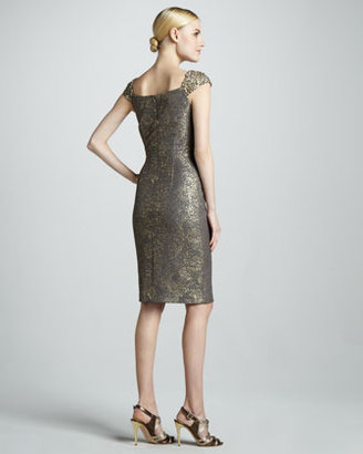David Meister Embroidered Cap-Sleeve Cocktail Dress