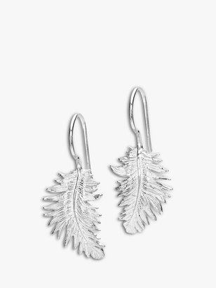 Dower & Hall Small Feather Sterling Silver Drop Earrings