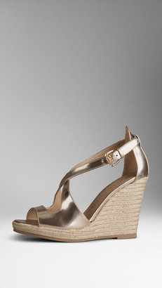 Burberry Patent Leather Espadrille Wedges