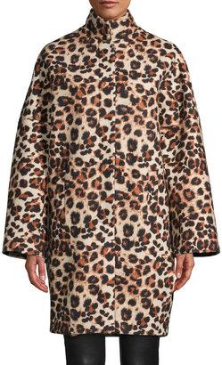 Nicole Miller Leopard-Print Wool Coat