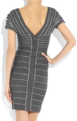 Herve Leger Metallic-striped bandage dress