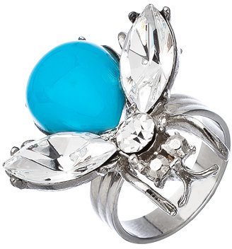 Yochi Silver Turquoise and Crystal Bug Ring