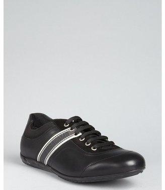 Salvatore Ferragamo black leather 'Libe' logo stripe sneakers