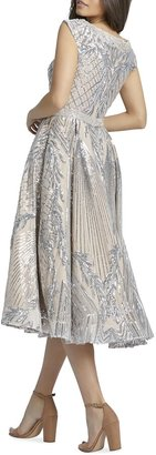 Mac Duggal V-Neck Sequin Damask Midi Dress
