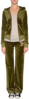 Juicy Couture Velour Juicy Varsity Hoodie in Dill