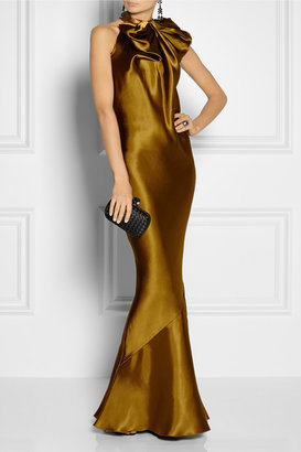 Lanvin Bow-embellished duchesse-satin gown