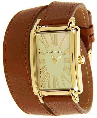 Anne Klein AK-1192CHBN Gold-Tone Double-Wrap Leather Strap Watch (Champagne/Brown) - Jewelry