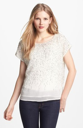 Vince Camuto 'Flower Fields' Short Sleeve Sequin Blouse