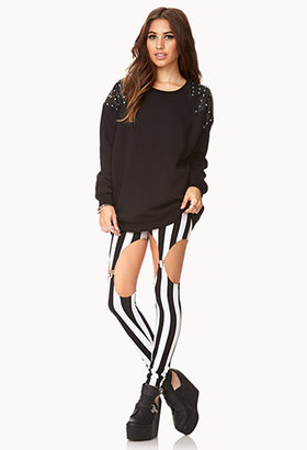 Forever 21 Studded Out Oversized Sweatshirt