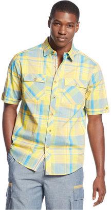 Sean John Big and Tall Slub Checked Shirt
