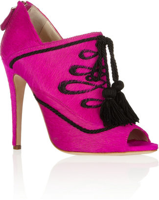 Brian Atwood Moya calf hair ankle boots