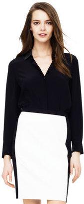 Club Monaco Denise Leather Collar Shirt