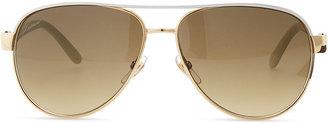 Gucci Metal Aviator Sunglasses, Ivory