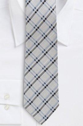 HUGO BOSS '8 cm Tie' | Regular, Silk-Linen Knit Check Print by BOSS Selection