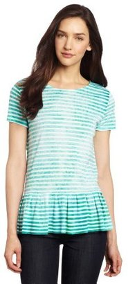 Chaus Women's Stripe Dew-Drop Embellishment Peplum Tee