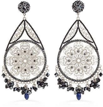 Jimmy Crystal New York Jet Filigree Earrings