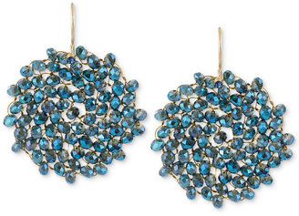 Kenneth Cole New York Earrings, Gold-Tone Woven Faceted Bead Round Drop Earrings