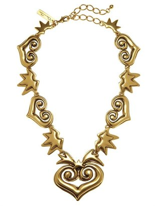 Oscar de la Renta Antique Heart Charm Necklace