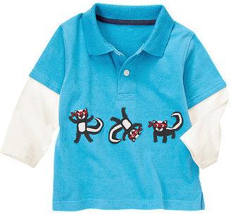 Gymboree Skunk Ninjas Double Sleeve Polo Shirt