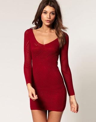 Asos Knitted Body-Conscious Dress With Stitched Lace Detail