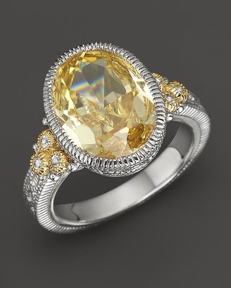 Judith Ripka Sterling Silver and 18K Gold Oval Stone Estate Ring with White Sapphire and Canary Crystal