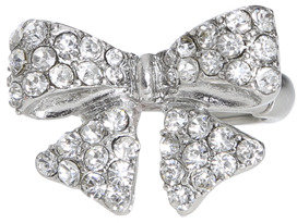 Wet Seal WetSeal Bling Ribbon Bow Ring Silver