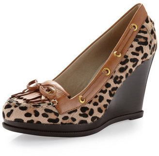 Sperry Fair Wind Leopard-Printed Calf Hair Wedge