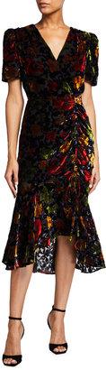 Milly Gynn Ruched Velvet Floral Burnout Midi Dress
