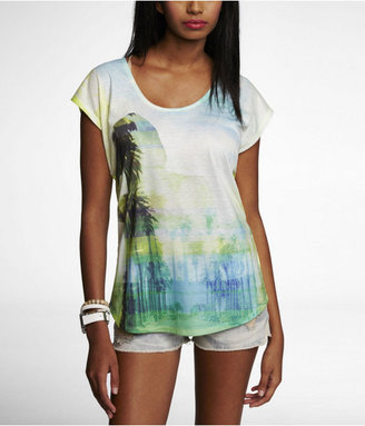 Express Open Back Mixed Fabric Graphic Tee - Paradise