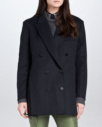 3.1 Phillip Lim Trompe l'Oeil Layered Peacoat, Midnight
