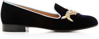 Mary Katrantzou Scott Fish Embroidered Velvet Loafers