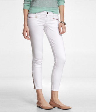 Express Stella Zip Pocket Ankle Jean Legging- White