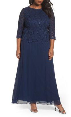 c37dfc8ba4 Alex Evenings Embellished Lace   Chiffon Gown