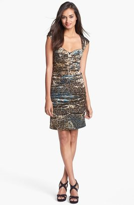 Nicole Miller Print Ruched Satin Sheath Dress