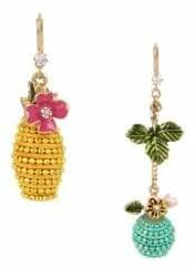 Betsey Johnson Paradise Lost Crystal Beaded Mismatched Earrings