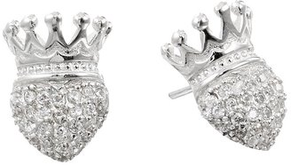 King Baby Studio - Crowned Heart Post Earring Pave Cz Earring $170 thestylecure.com